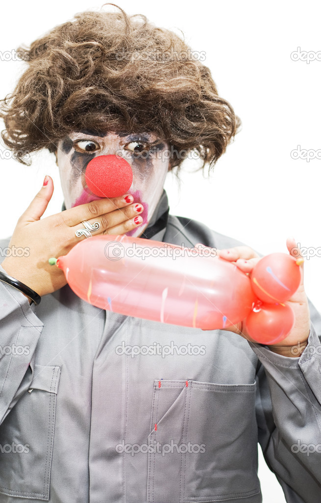 A Clown Gasps In Shock After Creating A Phallic Symbol Out Of A Balloon Evocatively Inspired By A Naughty Thoughty — Stock Photo #10037301