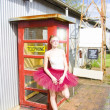 Dancer And Telephone Box — Stock Photo