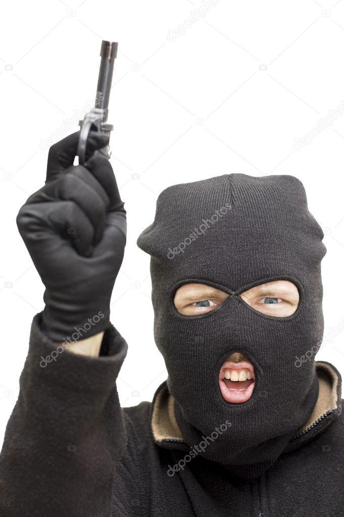 Studio Image Of A Balaclava Wearing Bandit Pointing His Gun Skywards During An Armed Holdup — Stock Photo #10077942