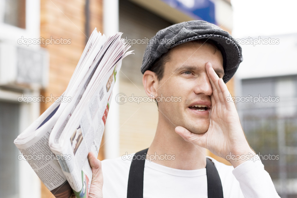 Calling For Buyers A Spruiker News Paper Boy Yells Out Loudly Extra Extra Read All About It — Stock Photo #10078354