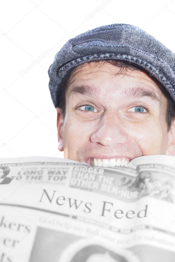 Young Man Chews Of The Latest With A Newspaper In His Mouth In An Image Representing A News Feed — Stock Photo #10078378