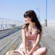 Pretty Pier Woman — Stock Photo