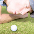 Golf Hole In One Puff — Stock Photo