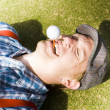 insane sport nut crazy about golf — Stock Photo