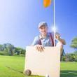 Man With Golf Victory Banner — Stock Photo