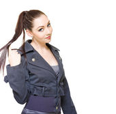 Bored Unproductive Business Woman Twirling Hair — 图库照片