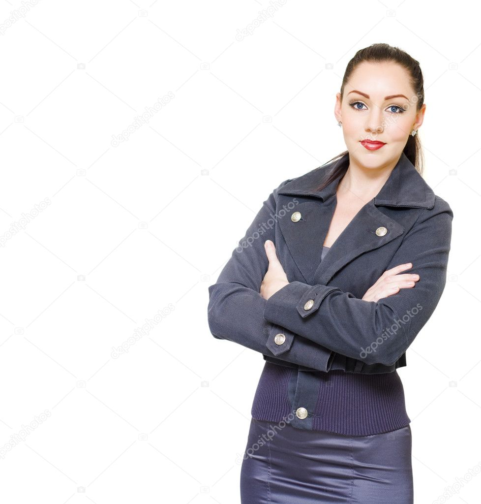 Young Confident Manager Boss Or Female Business Executive Smiling On White Copy Space With Arms Folded In A Superintendent And Authority Concept  Stock Photo #10149001