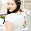 Cute Young Busy Business Woman Carrying Briefcase - Stockfoto