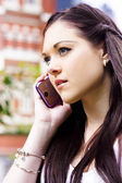 Beautiful Business Woman On Smart Mobile Phone — Stock Photo