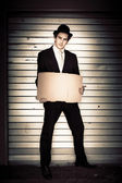 Full Body Vintage Man Holding Blank Cardboard Sign — Stock Photo