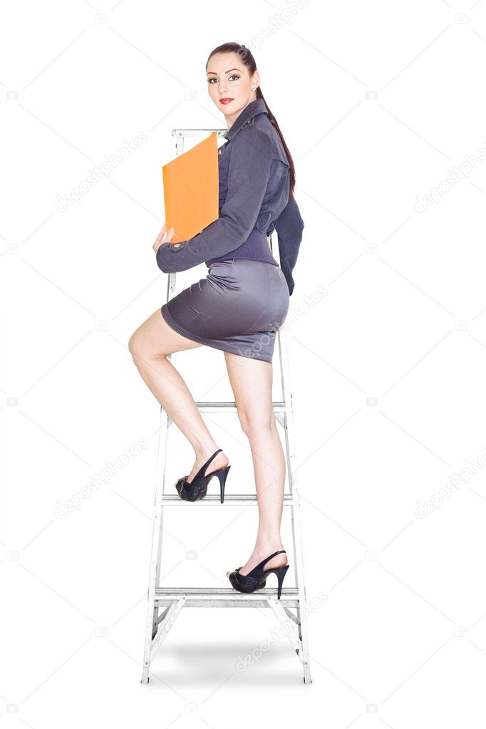 Metaphor Of A Ambitious Career Driven Female Business Woman Climbing The Steps Of Promotion While Stepping Up The Corporate Ladder Of Success And Achievement — Stock Photo #10151462