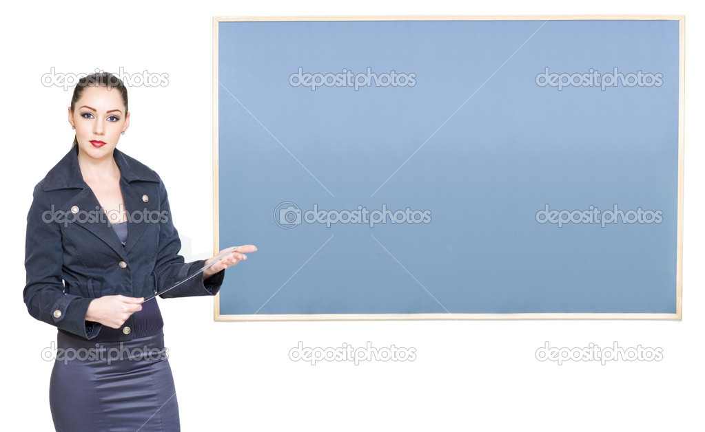 Education And Early Learning Concept With A School Teacher Standing Next To A Blank Blackboard With Copyspace Or Room For Text, On White Background — Stock Photo #10151475