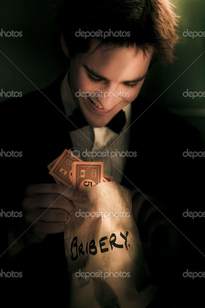 Dodgy Business Deal With A Fraudulent Politician Or Figure Of Authority Looking Into A Bag Of Money In A Representation Of Illicit Deceit And Immoral Behavior — Stock Photo #10155402
