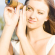 Woman With Telescope — Stock Photo