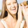 Smiling And Laughing Woman Holding Old Fashion Telescope — Stockfoto