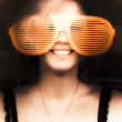 Woman With Funny Sunglasses — Stock Photo