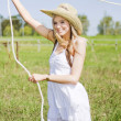 Farming Woman With Rope - Stock Photo