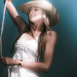 Pretty Lasso Girl - Stock Photo