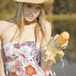 Corn Cob Cowgirl - Stock Photo