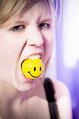 Woman Finding Happiness Hard To Swallow — Stok fotoğraf