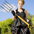 Stock Photo: Killing Weeds With Killer Style