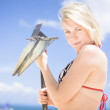 Woman With Anchor On Beach - Stock Photo