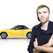 Confident Young Man With Sports Car - Stockfoto