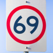 69 Road Sign On The Highway Of Love - Stock Photo