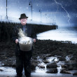 Elderly Fisherman Holding A Bucket Of Fish — Stock Photo