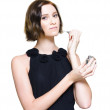 Woman Applying Perfume Fragrance - Stock Photo