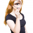 Woman Holding Looking Glass Or Magnifying Glass — Foto Stock