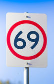 69 Road Sign On The Highway Of Love — Stock Photo