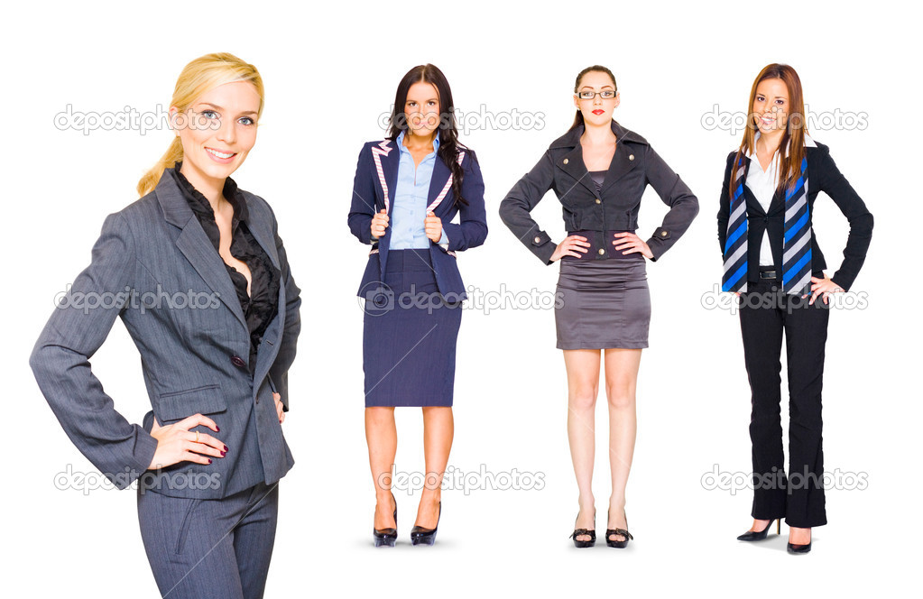 Happy Smiling Professional Team Of Four Young Female Business Standing Confidently In Full Body And Half Body Portraits, Isolated Over White Background  Stock Photo #10265504