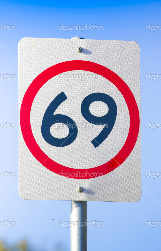 Road Speed Sign On Route Sixty Nine, 69 or Sixty-nine, The Highway Of Love And Sexual Pleasure  Stock Photo #10265607