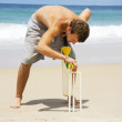 Stock Photo: MPlaying Beach Cricket