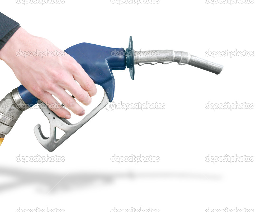 Hand Holding Gas Station Pump Refuelling Car Isolated On White Background  Stock Photo #10312496