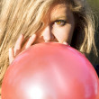 Woman With Red Balloon — Stock Photo