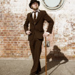 Retro Gentleman In Bowler Hat — Stock Photo