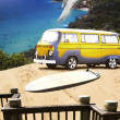 Stock Photo: Van And Surf Board At Beach