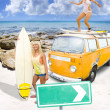 Foto de Stock  : Surfing Holiday This Way