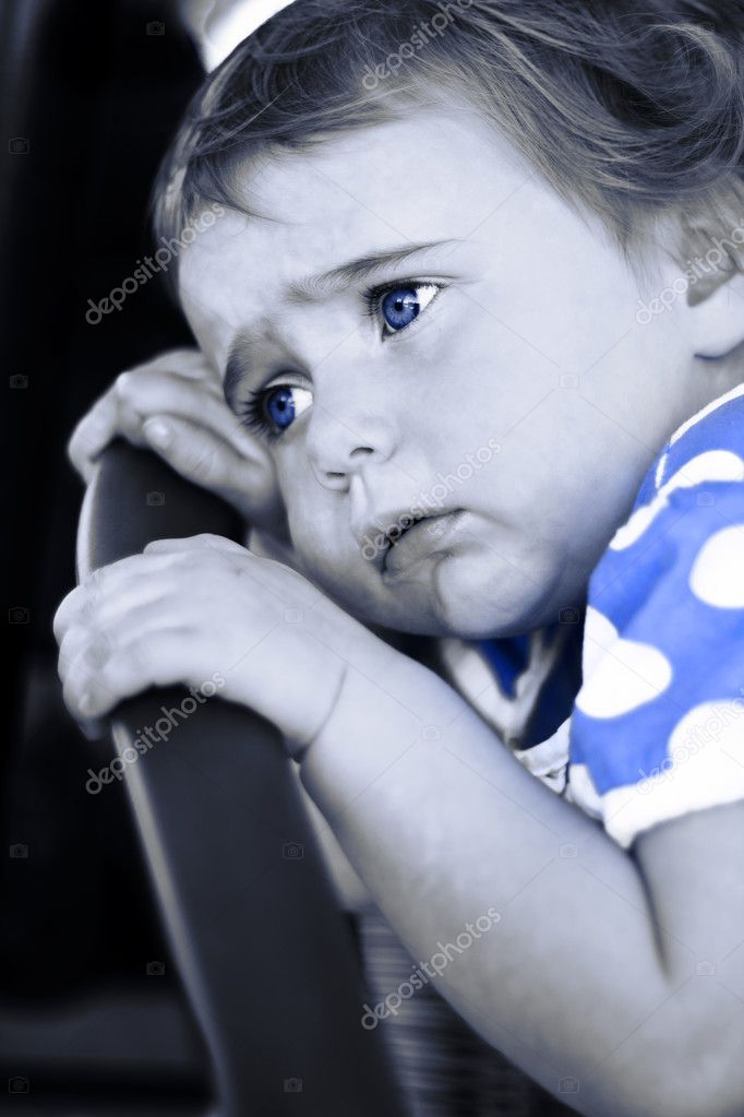 Blue Is A Sad Child Crying In A Unhappy Expression Of Baby Blues — Stock Photo #10410041