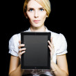 Business woman holding touchpad tablet — Stock Photo #10456077