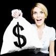 Euphoric business woman holding unexpected windfall — Stock Photo