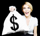 Euphoric business woman holding unexpected windfall — Stok fotoğraf