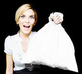 Business Woman Bagging A Bargain With Copyspace — Stok fotoğraf