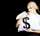 Business Woman In Love With Financial Success — Stock Photo