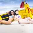 Two Beautiful Women Together On Beach — Stock Photo #10588359