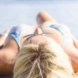 Vacation Girl Sleeping On Sand — Stock Photo