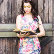 Pretty Young Woman Reading Book — Stock Photo
