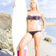 Beautiful Young Blond Surf Woman — Stock Photo